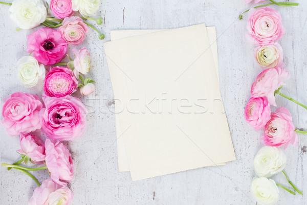 Stock fotó: Rózsaszín · fehér · virágok · kopott · üres · papír · jegyzet