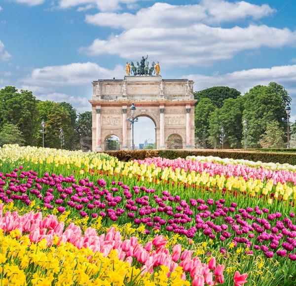 Триумфальная арка Париж саду Солнечный весны день Сток-фото © neirfy