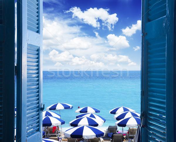 Oda kapıyı açmak deniz manzarası açmak mavi pencere Stok fotoğraf © neirfy