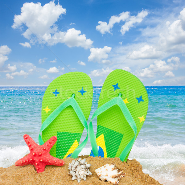 sandals and starfish in sand Stock photo © neirfy