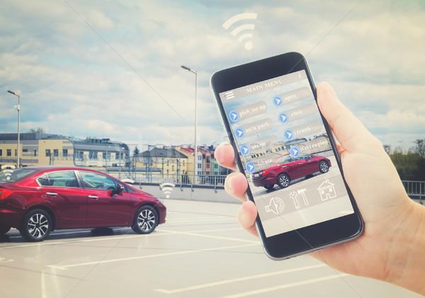 Automatisch parkeren hand telefoon auto Stockfoto © neirfy