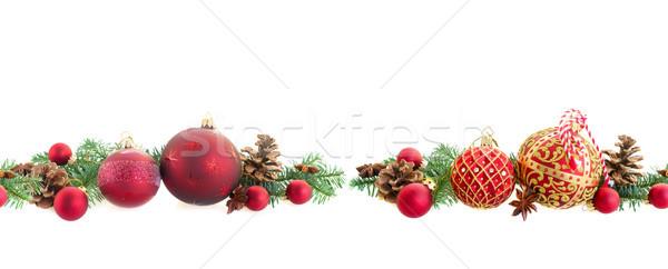 Foto d'archivio: Natale · evergreen · rosso · senza · soluzione · di · continuità · confine