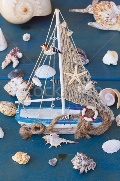 Seashells and boat Stock photo © neirfy