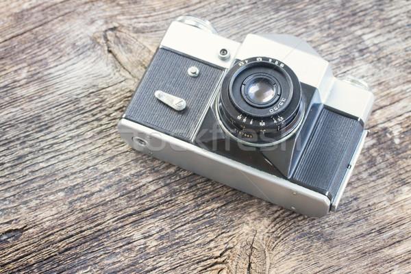 Stock fotó: Klasszikus · fotó · kamera · fekete · fából · készült · retro