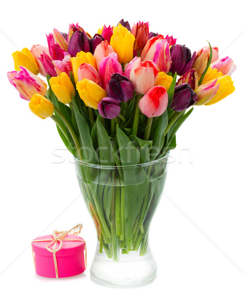 bouquet of   tulip flowers in vase Stock photo © neirfy