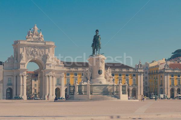 Stockfoto: Boog · Lissabon · Portugal · commerce · vierkante · retro