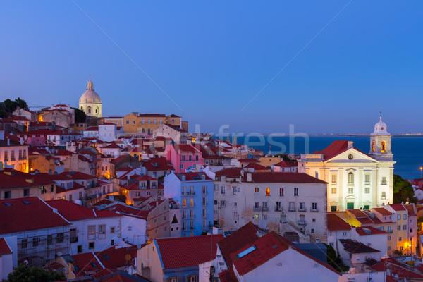 View Lisbona Portogallo città vecchia skyline blu Foto d'archivio © neirfy