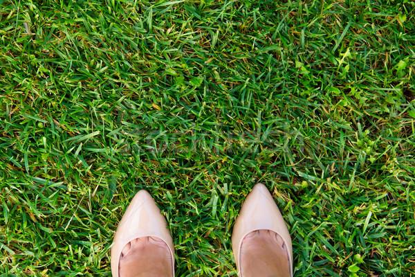 Stock fotó: Kettő · lábak · fű · nő · cipők · felső