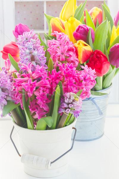 花束 ヒヤシンス チューリップ 花 黄色 紫色 ストックフォト © neirfy