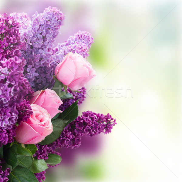 Lilac flowers with roses Stock photo © neirfy