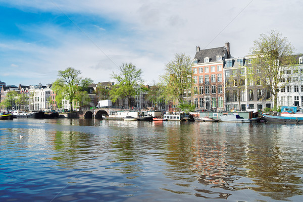 Canal Amsterdam Pays-Bas ciel eau printemps Photo stock © neirfy