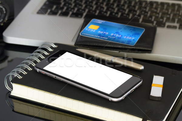 office desk with phone and plastic card Stock photo © neirfy