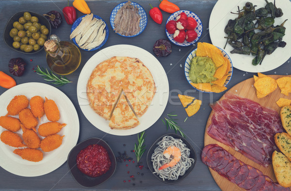 таблице испанский Тапас оливками Top мнение Сток-фото © neirfy