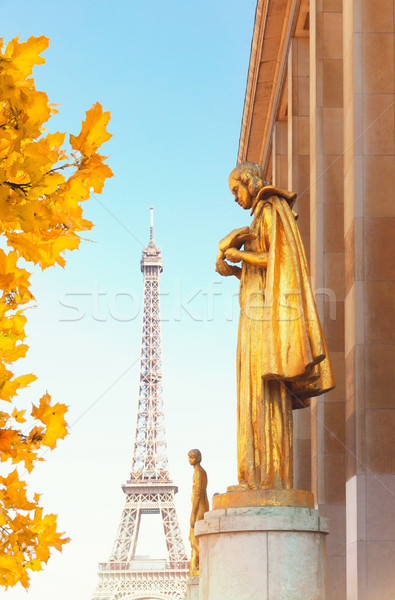 eiffel tour and statues of Trocadero Stock photo © neirfy