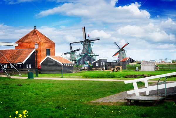 Foto stock: Holandés · viento · tradicional · escena · rural · Países · Bajos · retro