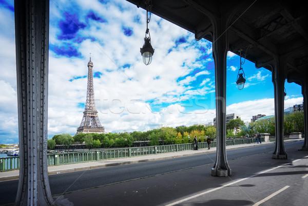 Eiffel turné folyó kilátás Párizs utca Stock fotó © neirfy