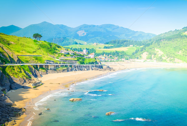 Cantabrian Sea coast and Deba town Stock photo © neirfy