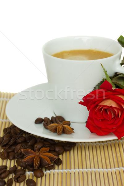 Taza café Rose Red flor aislado Foto stock © neirfy