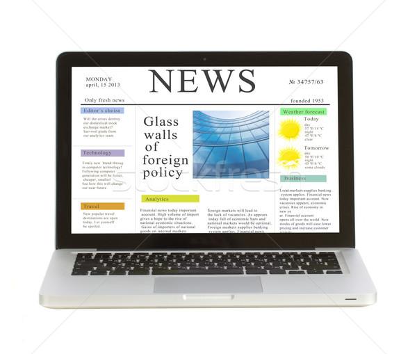Laptop hírek helyszín izolált fehér copy space Stock fotó © neirfy
