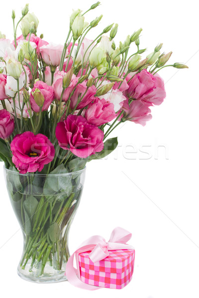 Pink eustoma flowers with  gift  box Stock photo © neirfy