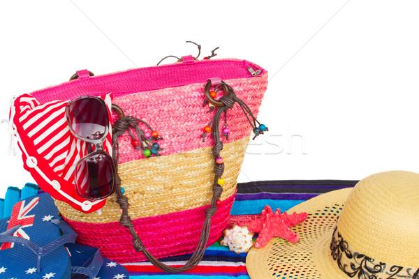 Tomar el sol bolsa toalla de playa aislado blanco Foto stock © neirfy