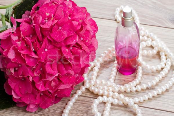 hortensia  flowers and bottle of fragrance Stock photo © neirfy