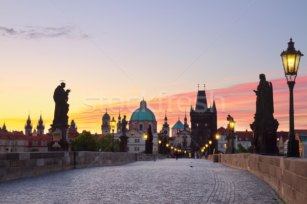 Charles bridge at sunset, Prague Stock photo © neirfy