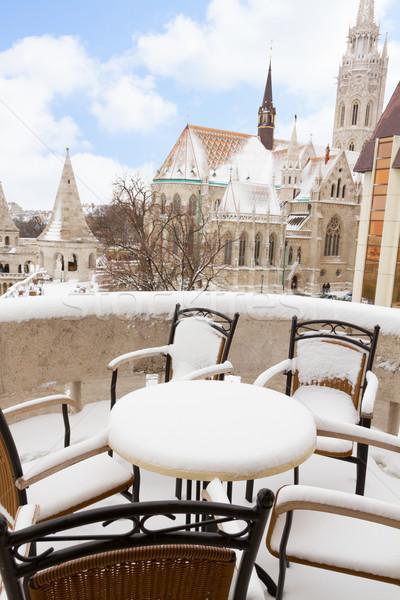 ブダペスト 冬 カフェ 表示 教会 ストックフォト © neirfy
