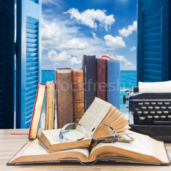 Books and typewriter Stock photo © neirfy