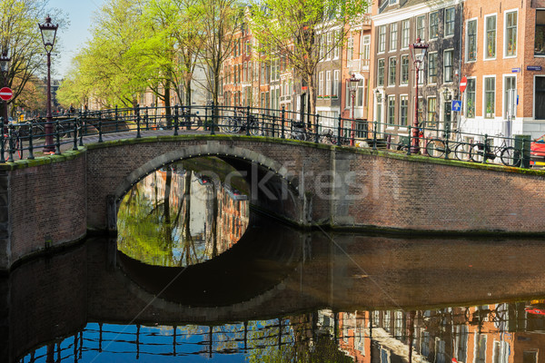 Brug Nederland historisch kanaal spiegel Stockfoto © neirfy