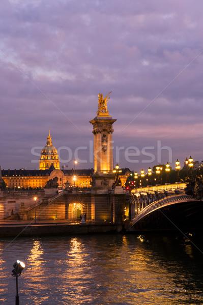 Köprü Paris Fransa mor gece şehir Stok fotoğraf © neirfy