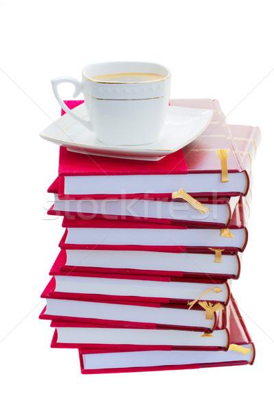 Köteg könyvek csésze kávé keményfedeles kávé Stock fotó © neirfy