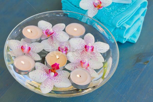 Foto stock: Ardor · velas · orquídeas · flores · agua · spa
