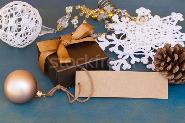Coffret cadeau décorations vide tag Noël fête Photo stock © neirfy