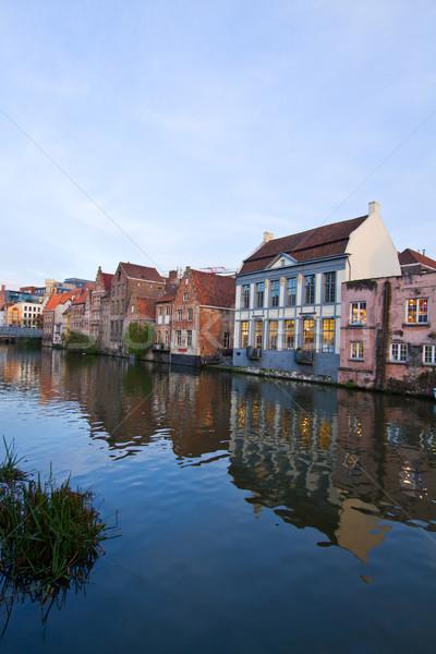 старый город живописный домах канал Бельгия воды Сток-фото © neirfy