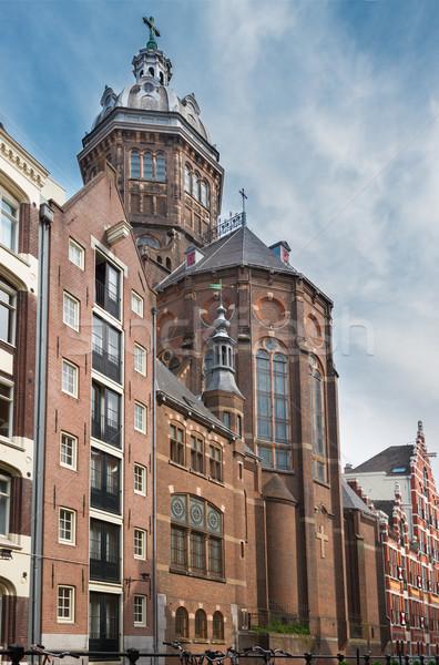 Kerk Amsterdam straat oude binnenstad holland hemel Stockfoto © neirfy