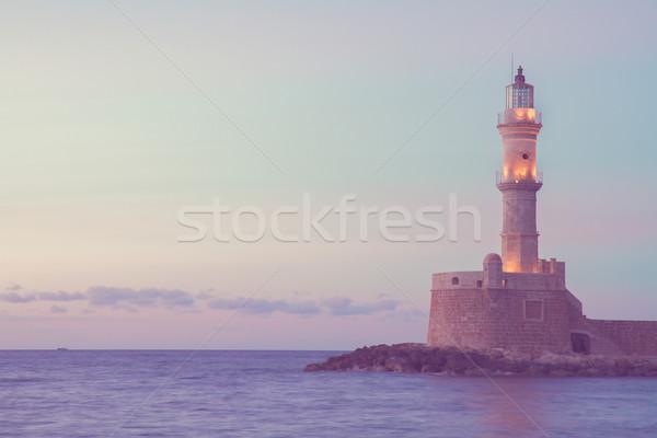 Stock fotó: Világítótorony · Görögország · tenger · kék · éjszaka · retro