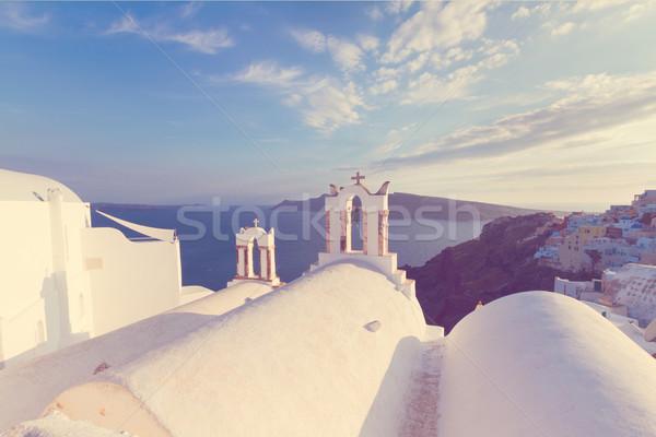 Fehér Santorini sziget Görögország templom vulkán Stock fotó © neirfy