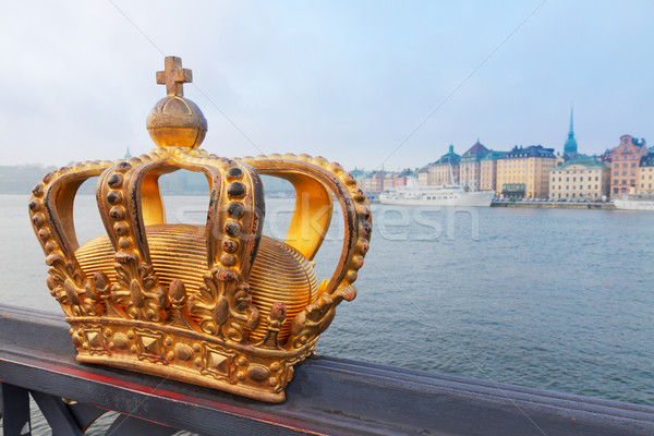 Stock photo: Royal crown and Stockholm cityscape