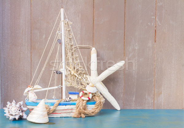 Seashells,  starfish and boat  with copy space Stock photo © neirfy