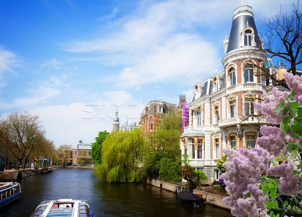 Een Amsterdam oude binnenstad Nederland bloemen Stockfoto © neirfy