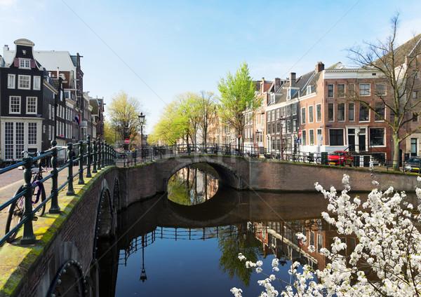 Casas Amsterdam Holanda ponte canal espelho Foto stock © neirfy