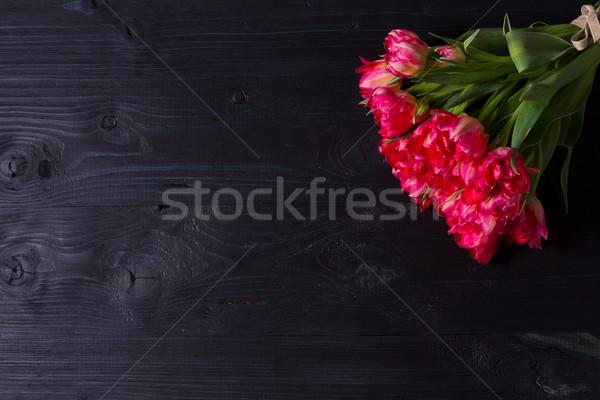 Różowy tulipany czarny bukiet świeże jasne Zdjęcia stock © neirfy
