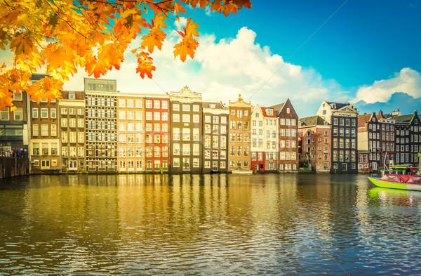 Häuser Niederlande charakteristisch alten fallen Stock foto © neirfy