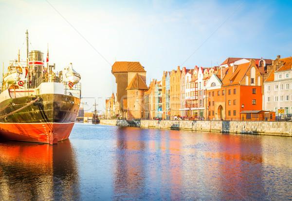 Motlawa quay and old  Gdansk Stock photo © neirfy