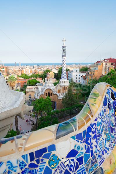 Parque Barcelona banco detalles paisaje urbano famoso Foto stock © neirfy
