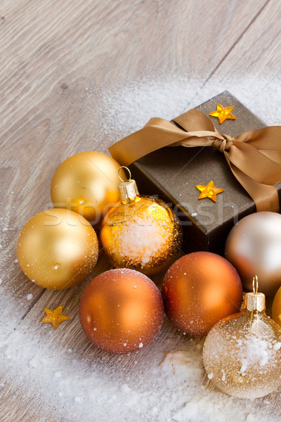 x-mas decorations and gift box close up Stock photo © neirfy