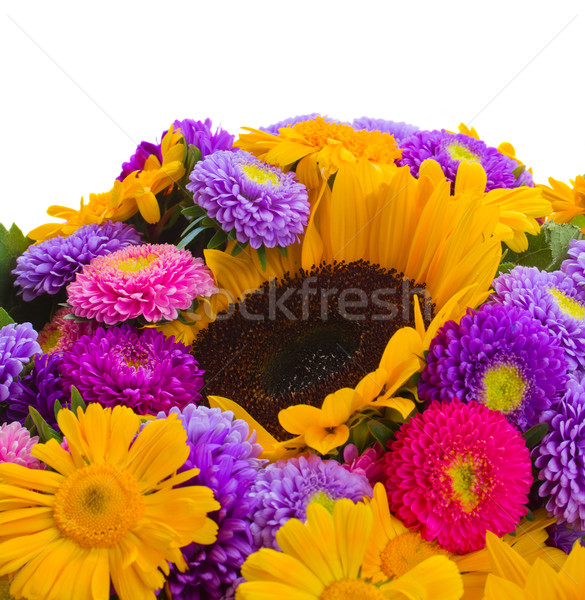 colorful bunch of autumn flowers close up Stock photo © neirfy