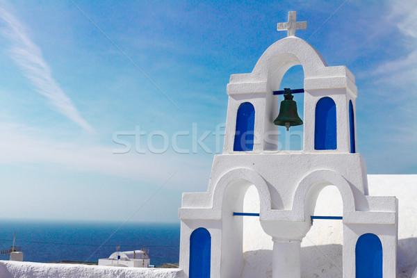 white with blue belfry, Santorini island, Greece Stock photo © neirfy