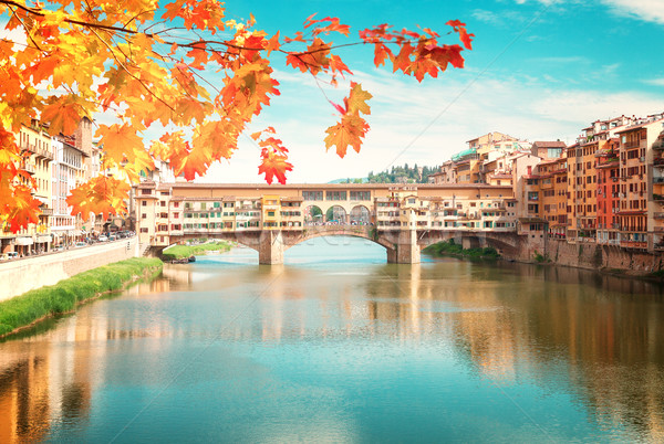 Floransa İtalya ünlü köprü nehir düşmek Stok fotoğraf © neirfy